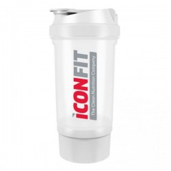 ICONFIT Shaker 500ml Two Compartments (White)