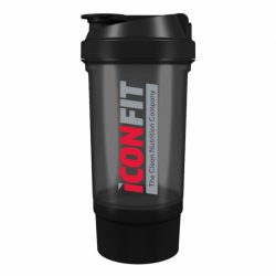ICONFIT Shaker 500ml Two Compartments (Black)